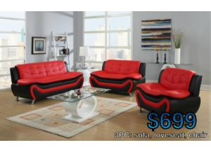 sofa+loveseat+chair(black/red)