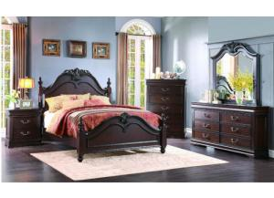 Queen Poster Bed w/ Dresser, Mirror, and Nightstand